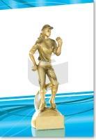 Pétanque-Spielerin in Gold